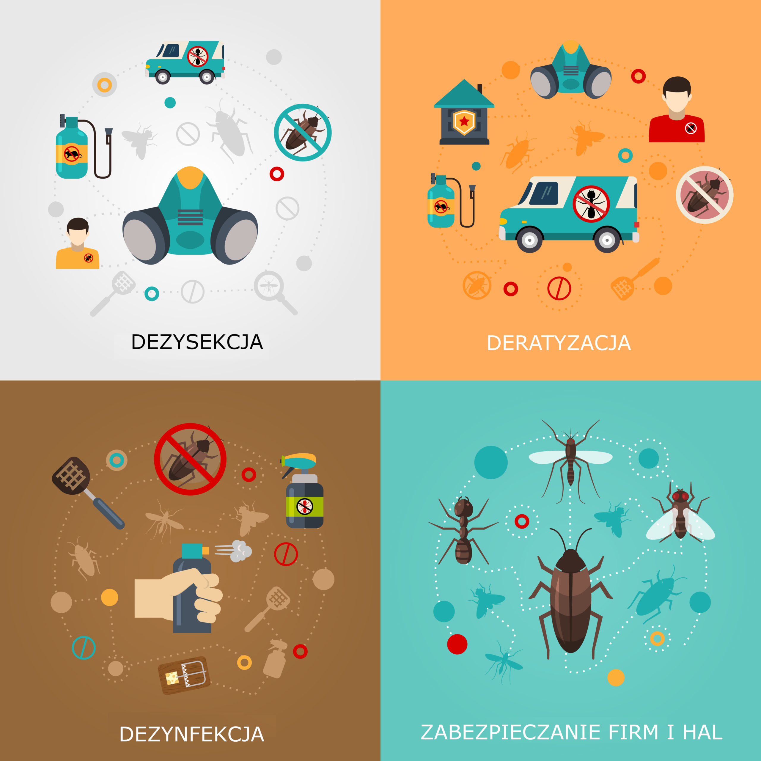 Home pest control services 4 flat icons square composition for detecting exterminating insects and rodents abstract isolated vector illustration